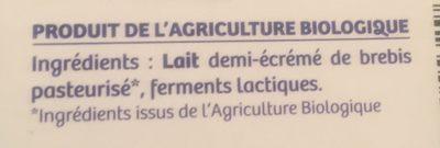 Yaourt Doux Brebis - Ingrédients - fr