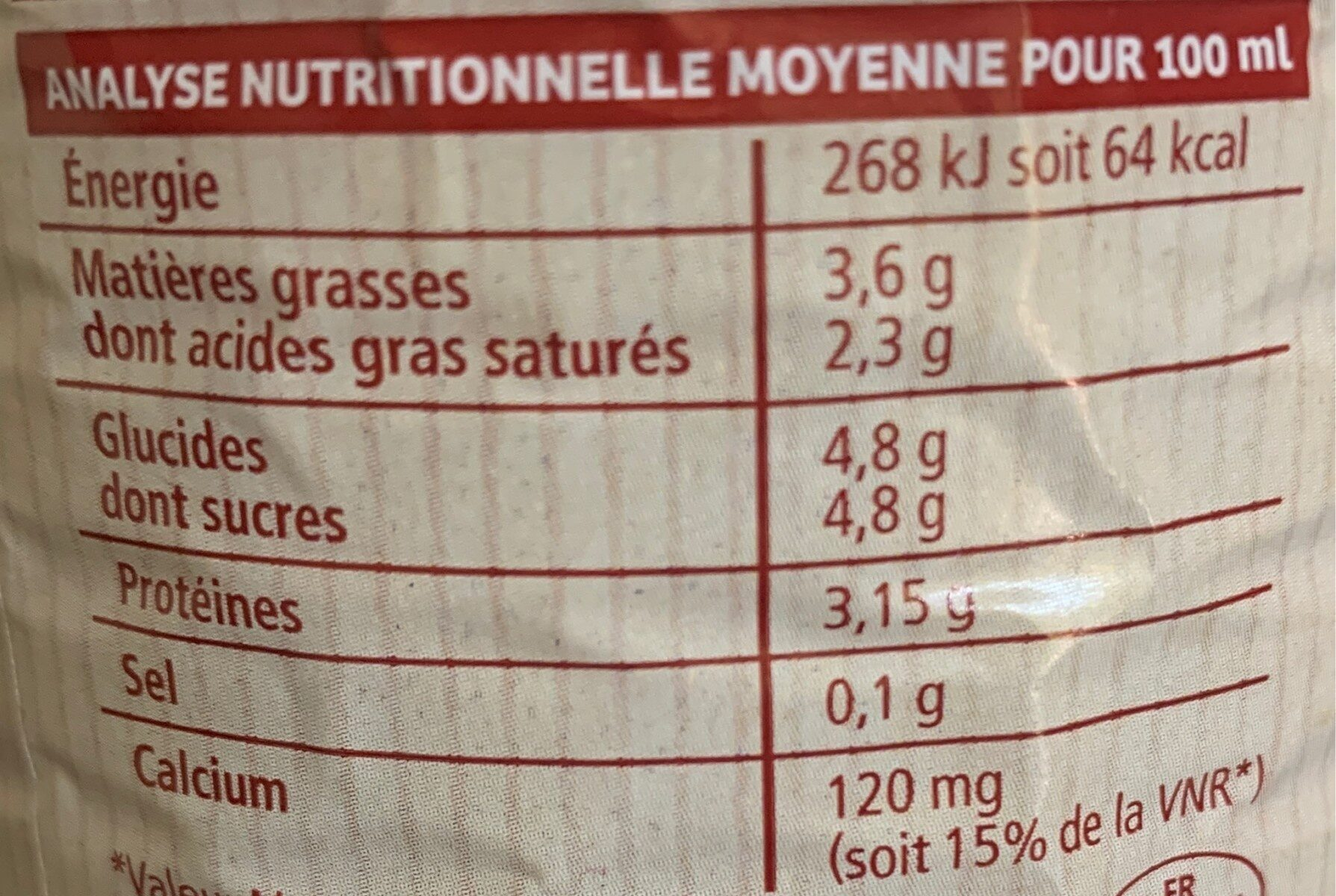Lait stérilisé entier - Informations nutritionnelles - fr
