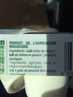 Yaourt nature entier au lait de chèvre - Ingrediënten - fr