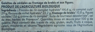 2 Galettes de Céréales Brebis & Figues Prêtes à déguster - Ingrediënten - fr