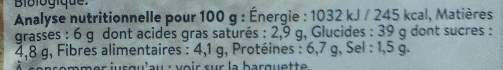 2 Galettes de Céréales Brebis & Figues Prêtes à déguster - Voedingswaarden - fr