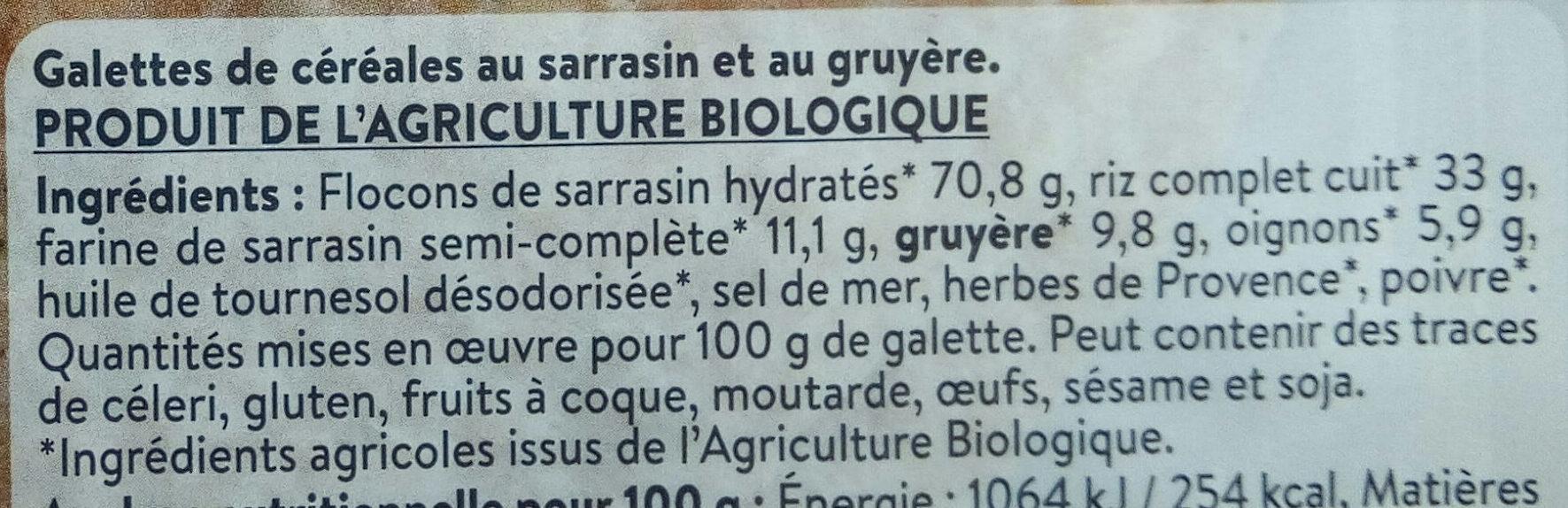 2 Galettes de Céréales Sarrasin Gruyère - Ingrédients