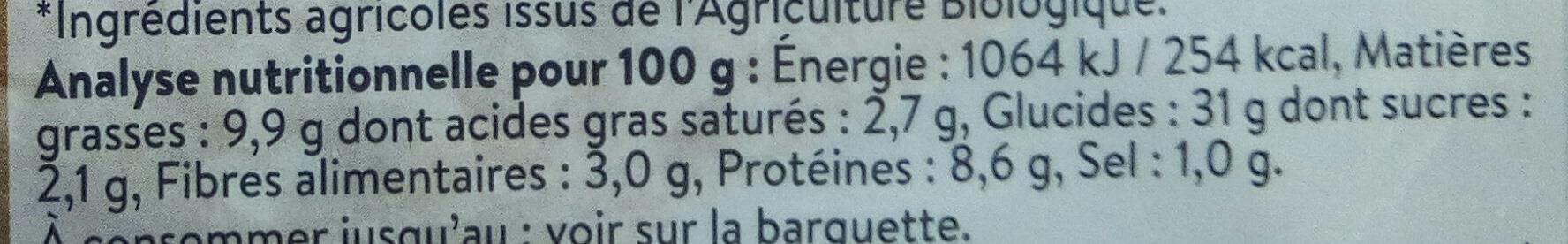 2 Galettes de Céréales Sarrasin Gruyère - Informations nutritionnelles