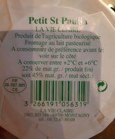 Petit St Paulin - Ingrédients - fr