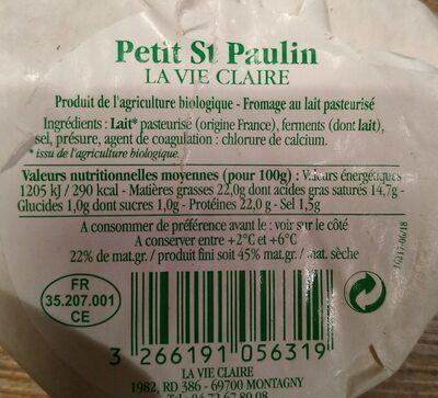 Petit St Paulin - Informations nutritionnelles - fr