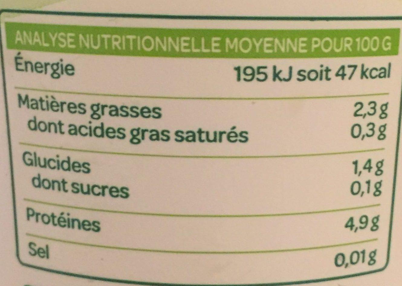 Dessert Soja Nature - Valori nutrizionali - fr