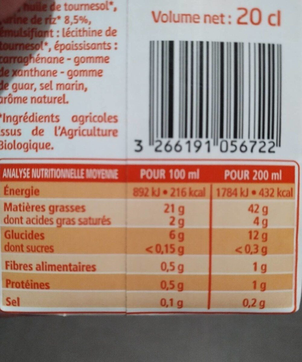 Riz cuisine 100% végétal - Nutrition facts - fr
