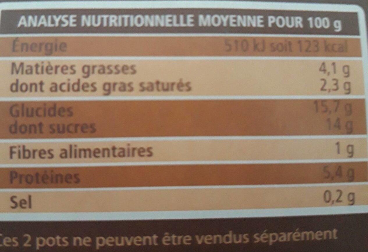 Crème renversée parfum chocolat - Valori nutrizionali - fr