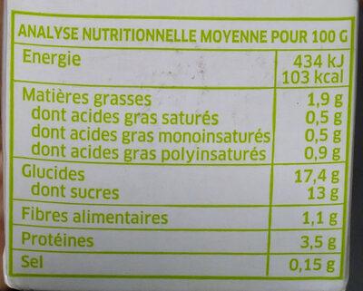 Dessert au soja chocolat - Informations nutritionnelles - fr