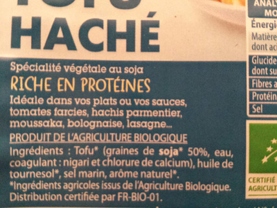 Tofu haché bio - Ingredienti - fr