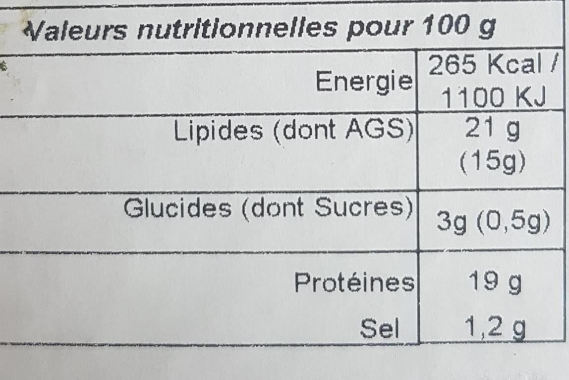 Fromage moulé - Valori nutrizionali - fr