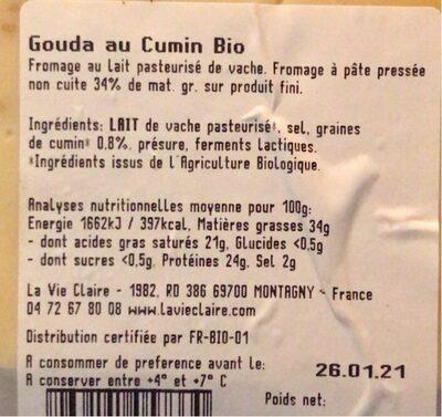 Gouda au cumin - Voedingswaarden - fr