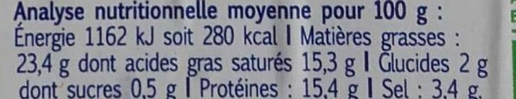 Feta fromage grec - Nutrition facts - fr