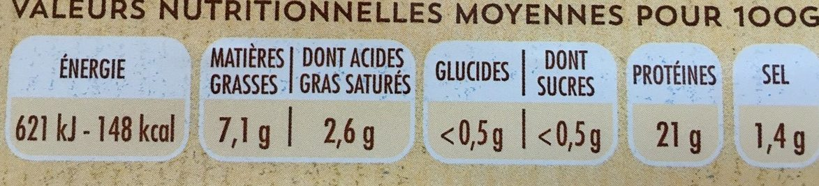 Jambon blanc - Informations nutritionnelles - fr