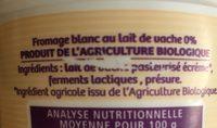 L'onctueux fromage blanc 0 % - Ingrédients