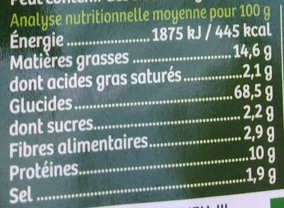 Gressini aux Olives - Nutrition facts