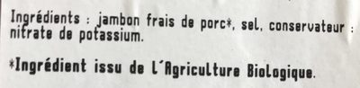 Le jambon de Bayonne - Ingredients