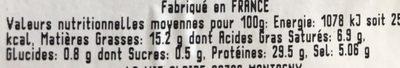 Le jambon de Bayonne - Nutrition facts