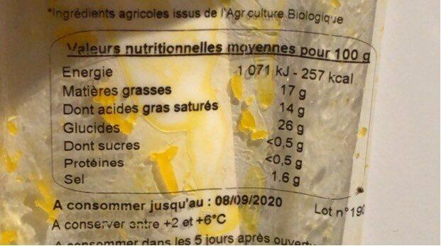 Le rapé vegan façon cheddar - Voedingswaarden - fr