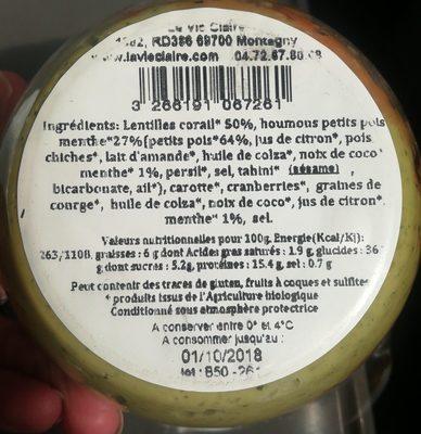 Lentilles corail et houmous petits pois menthe - Ingredients