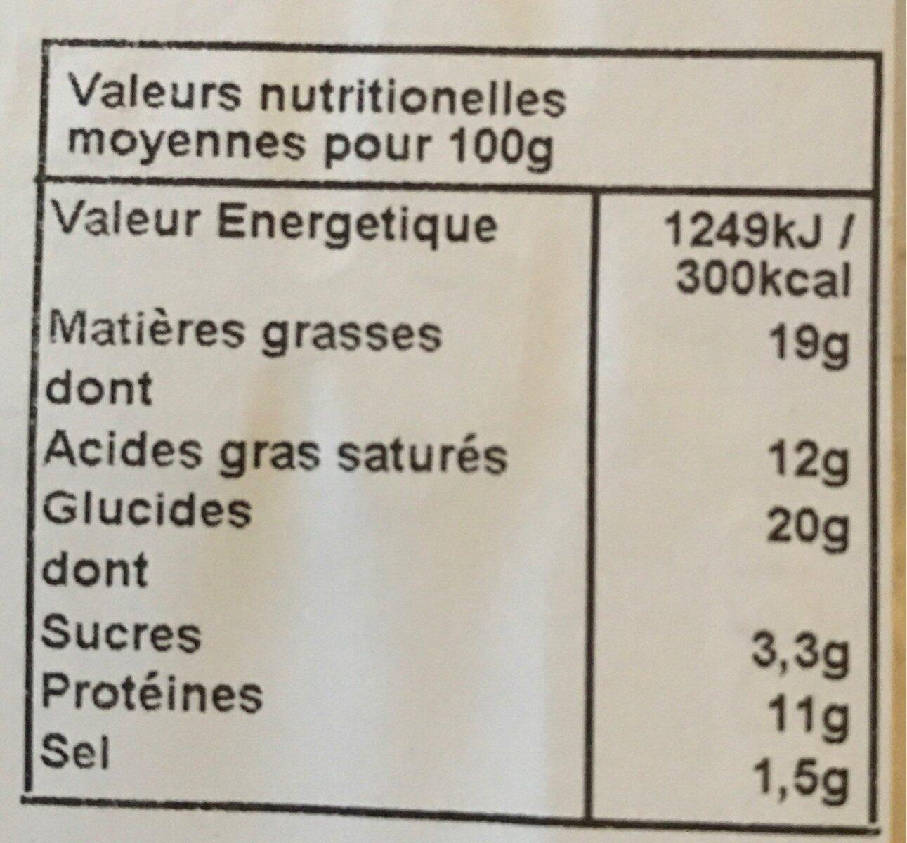 Les Petites Tartes Quiches Lorraines - Nutrition facts - fr