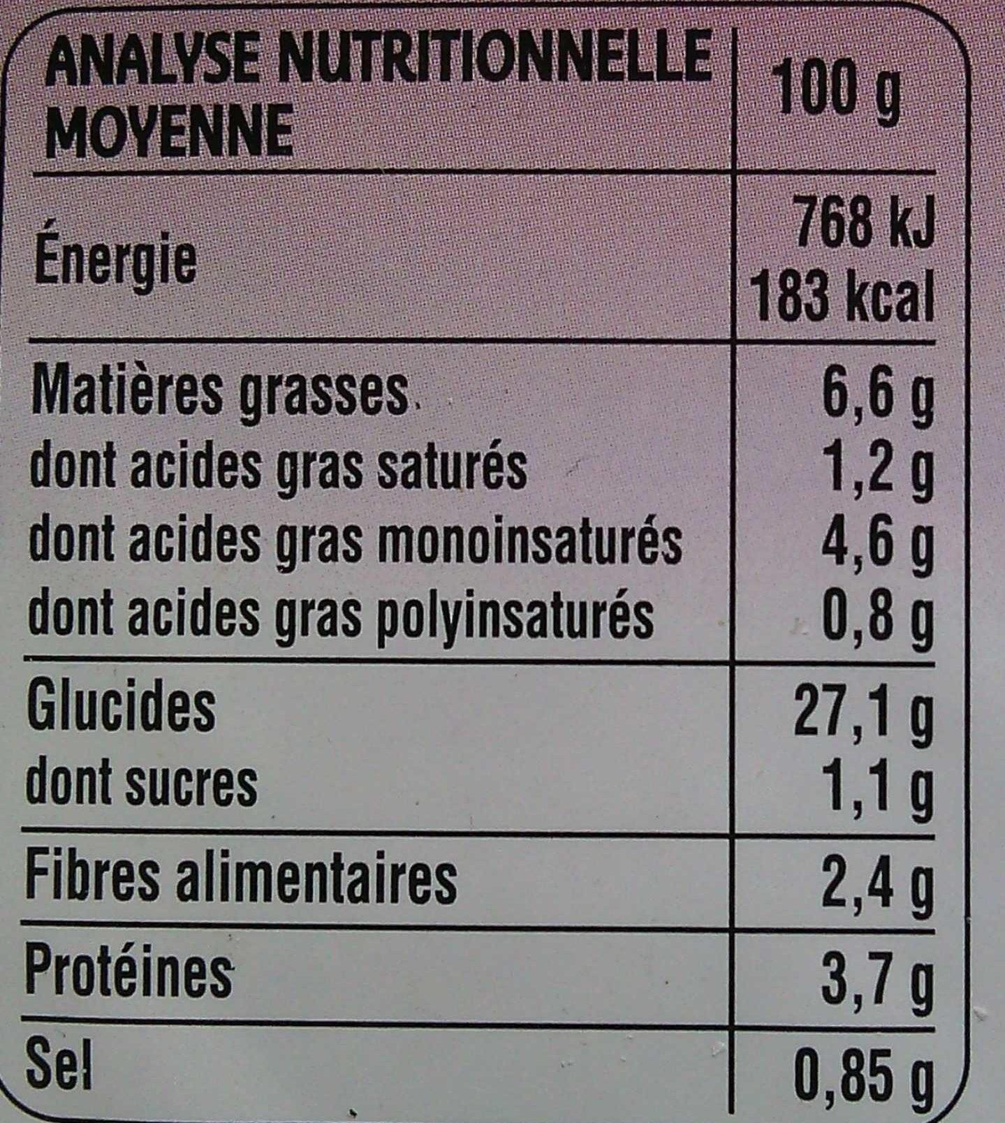 2 Galettes de Céréales Ratatouille - Informations nutritionnelles