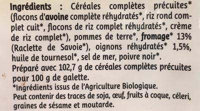 2 Galettes de Céréales Fromage de Savoie - Ingrédients - fr