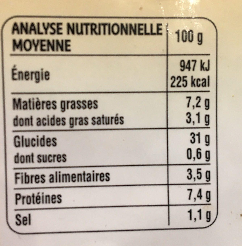 2 Galettes de Céréales Fromage de Savoie - Informations nutritionnelles - fr