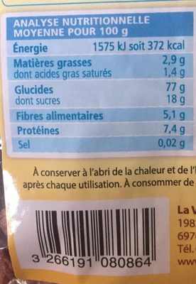Céréales soufflées au chocolat - Informations nutritionnelles