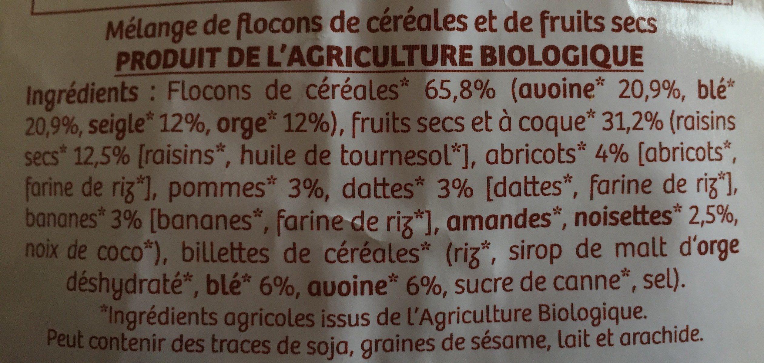 Muesli aux 5 céréales et aux 8 fruits - Ingredients