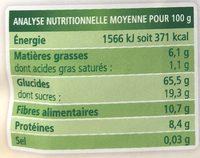 Muesli aux 5 céréales et aux 8 fruits - Nutrition facts