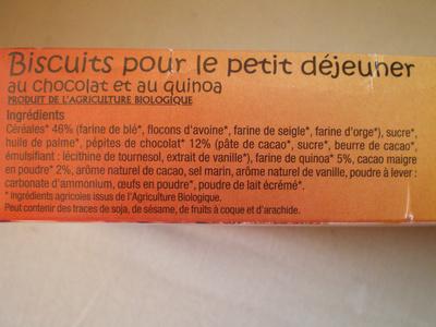 P'tit Déj Biscuits Chocolat et Quinoa - Ingredienti - fr