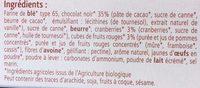 Biscuits Cranberries et Fruits Rouges Enrobés de Chocolat - Ingredients - fr