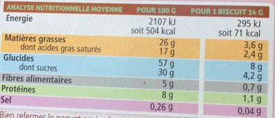 Biscuits Cranberries et Fruits Rouges Enrobés de Chocolat - Nutrition facts - fr