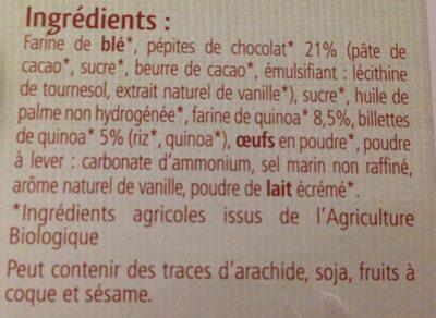 Cookies Quinoa et Pépites Chocolat - Ingredienti - fr
