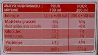 Crème entiere fluide - Informations nutritionnelles - fr