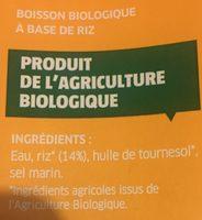 Boisson au Riz Nature - Ingrédients