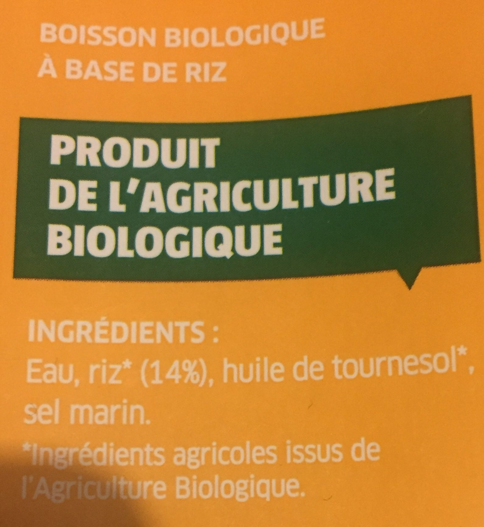 Boisson au Riz Nature - Ingrédients - fr