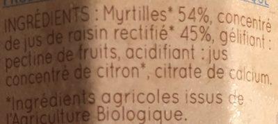 Clair'fruits - Confiture de myrtille bio - Ingrédients - fr