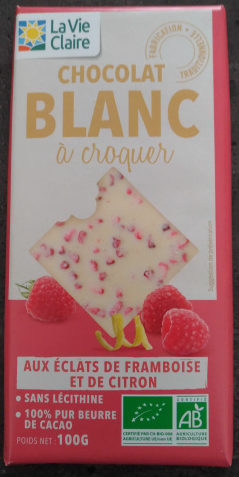 Chocolat Blanc à Croquer aux Éclats de Framboise et de Citron - Produit