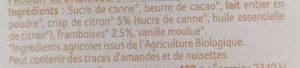 Chocolat Blanc à Croquer aux Éclats de Framboise et de Citron - Ingrédients