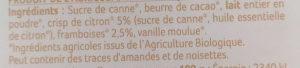 Chocolat Blanc à Croquer aux Éclats de Framboise et de Citron - Ingrédients - fr