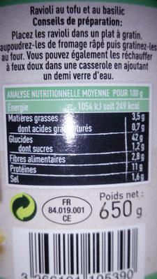 Ravioli au tofu - Valori nutrizionali - fr