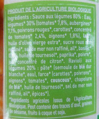 Ravioli aux Legumes - Ingrediënten