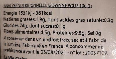 Riz long complet Basmati - Valori nutrizionali - fr