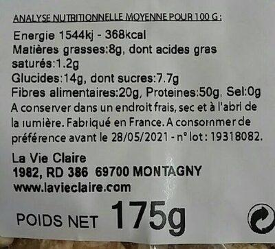 Proteines te soja texturees grosse - Voedingswaarden - fr