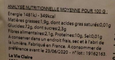 Farine De Blé Type 65 - Nutrition facts