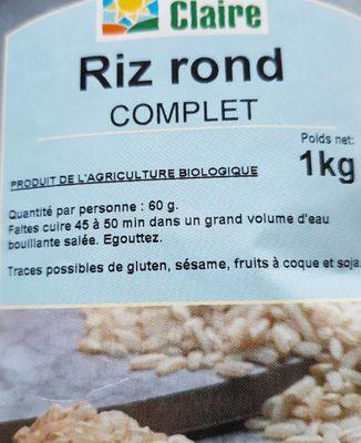 Riz rond complet - Informations nutritionnelles - fr