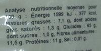 Flocons d'avoine précuits - petits - Informations nutritionnelles
