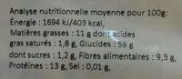 Flocons d'avoine germée - Valori nutrizionali - fr